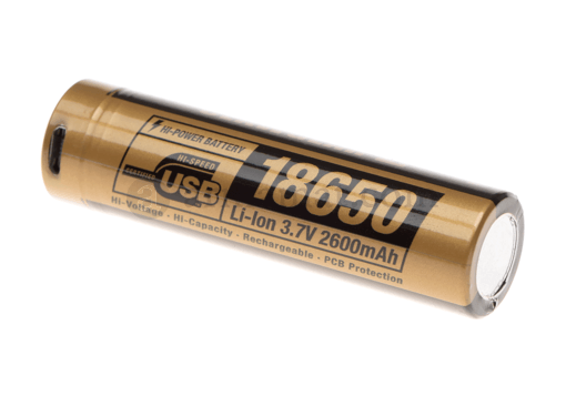 18650 Battery 3.7V 2600mAh Micro-USB (Clawgear)