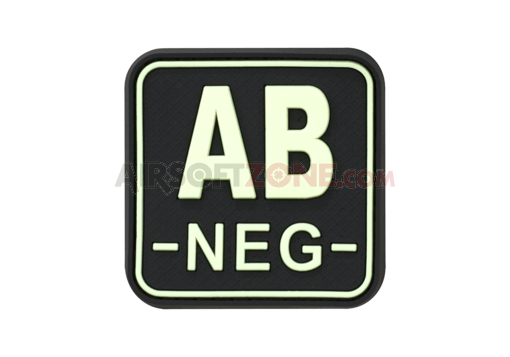 Bloodtype Square Rubber Patch AB Neg Glow in the Dark (JTG)